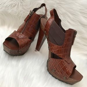 Jessica Simpson Brown Croc Leather Studded Heels